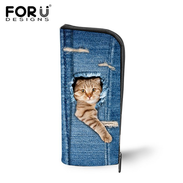 Wholesale- Cute Pet Cat Dog Printed Travel Cosmetic Bags Organizer Jeans Denim Blue Makeup Bags for Make Up Case Storage Animals Pencil Box