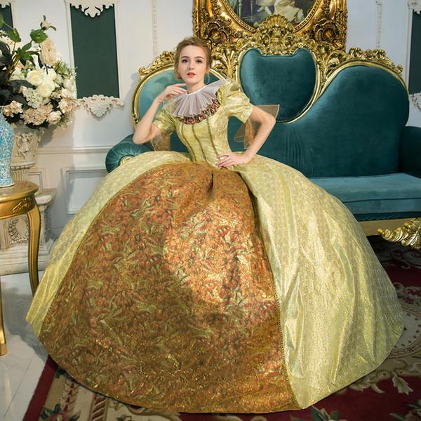 Top Venda do século 18 rococó / georgiano Moda Marie Antoinette vitoriana Vestido Jacquard Renaissance vitoriana Vestido