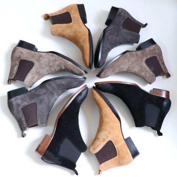 Botas de los hombres del tobillo de la moda de calidad superior resbalón en invierno espesar botas de gamuza de cuero martin botas de banda elástica casual para hombre