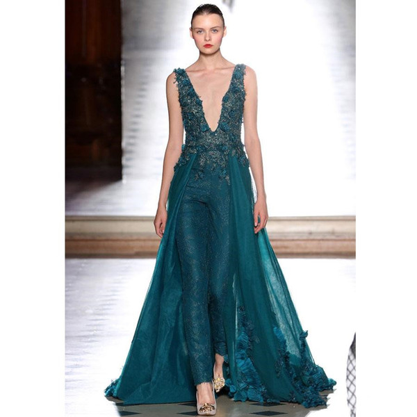 Women Hunter Jumpsuit Dresses Evening Wear Detachable Overskirt Deep V Neck Lace Floral Flowers Applique Beaded Prom Party Gowns Custom Made