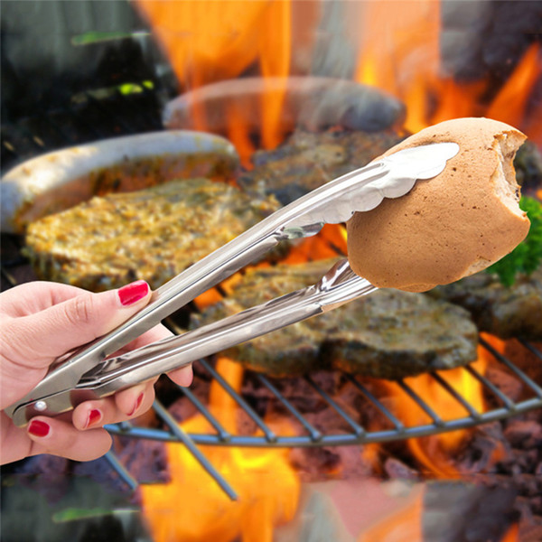 Stainless Steel Food Tongs Kitchen Utensils Buffet Cooking Tools Anti Heat Bread Clip Pastry Clamp Barbecue Kitchen Tongs