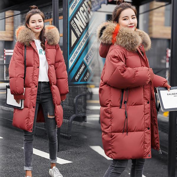2018 Kış Kadın Kapüşonlu Ceket Kürk Yaka Kalınlaşmak Sıcak Uzun Ceket Kadın Artı Boyutu 3XL Giyim Parka Bayanlar Chaqueta Feminino