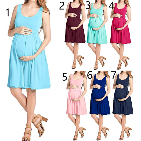 7 style Puseky Summer Maternity Dresses Maternity Pregnant Sleeveless Solid Straight Dress Casual maternity Clothes Dress for pregnant L