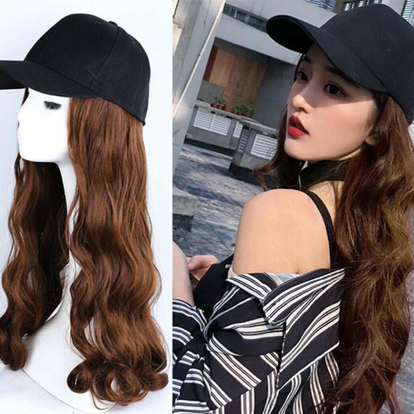 Cap perruque Chapeau Plein long onduleux bouclés cosplay femmes Halloween Party Club Girl cheveux