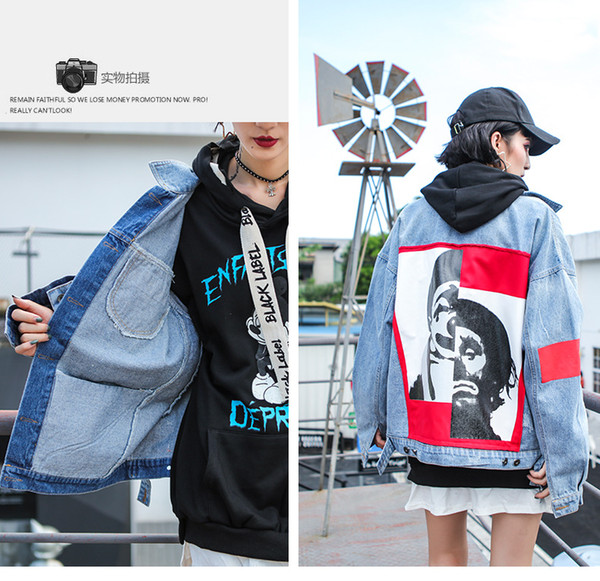 Harajuku Style Spring Autumn Loose Ladies Jackets and Coats Fashion Cool Pattern Print Patch Designs Women Denim Jeans Jacket