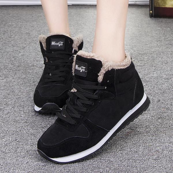 botas para la nieve de los zapatos de las mujeres 2019 nuevos de la manera del dedo del pie redondo caliente del tobillo de la felpa botas mujer zapatillas de deporte de la mujer calzado casual de invierno sólido con cordones