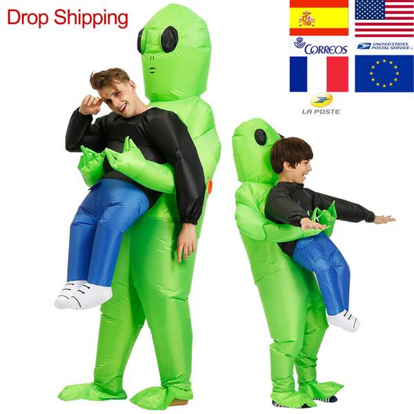 ET-Alien inflável mascote traje assustador traje estrangeiro verde para Halloween Party Adulto Festival Stage Pick Me Up