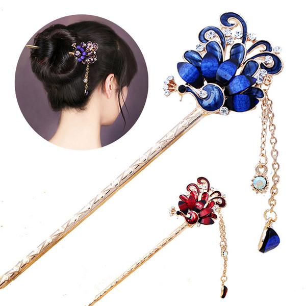 1Pcs Fashion Classic Women Crystal Peacock Tassel Rhinestones Hairpins Hair Stick Wedding Bride Party Headdress Hair Accessories