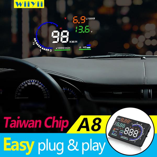 А8 в HUD 5.5 дюймов автомобиль HUD голову вверх дисплей OBDII скорость предупреждение расход топлива автомобиля автомобильная сигнализация