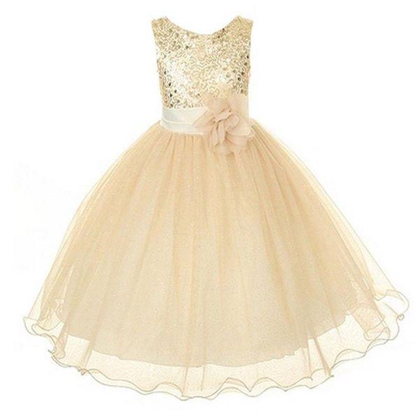 Новый стиль платье девушки милый блесток жилет без рукавов принцесса кружевном платье детские дети ну вечеринку свадьба подружка невесты Vestido