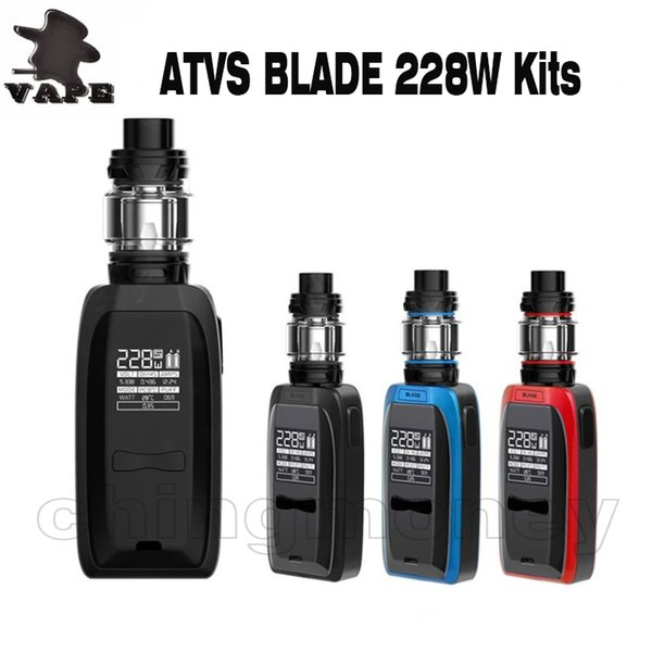 Auténtico kit de cigarrillos electrónicos ATVS 228W Blade con 5 ml 510 tanque Vape Box Mod. 228W Salida máxima Potencia enorme por batería 18650