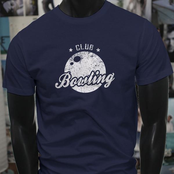 Bowling Club Striker Ball Pins Lanes Sport Mens Navy T-Shirt T Shirt For Men Gorgeous Short Sleeve Fashion Custom XXXL Couple Camiseta
