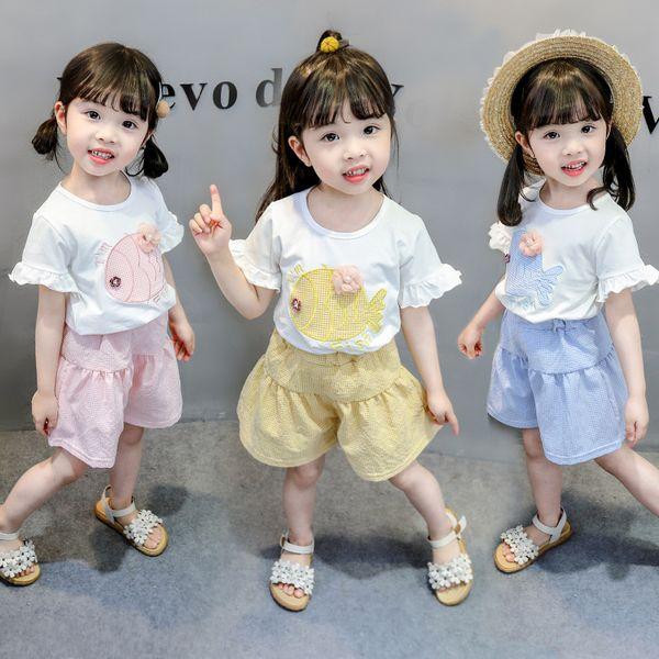 Summer Toddler Girl Clothes Animals Fish T-Shirt + Plaid Skirt Pants Set Baby Falbala Short Sleeves Stylish Clothes for Girls Tracksuit