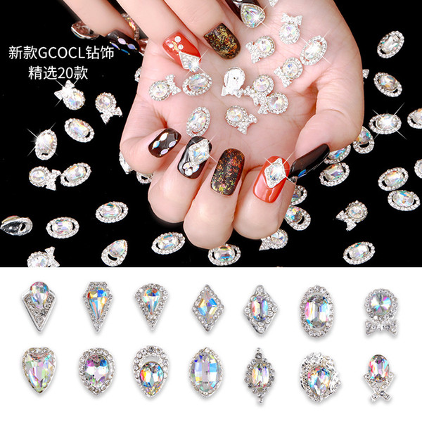 Magic Color 19 Styles 3d Nail Diamond Decoration Nail Art Rhinestones Diy Nail Stick Special Shape Glass Manicure Accessories Decorations For Nails