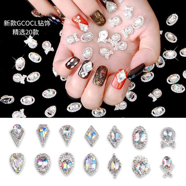 Magische Farbe 19 Arten 3D Nagel Diamant Dekoration Nail Art Strass DIY Nagel Stick Sonderform Glas Maniküre Zubehör