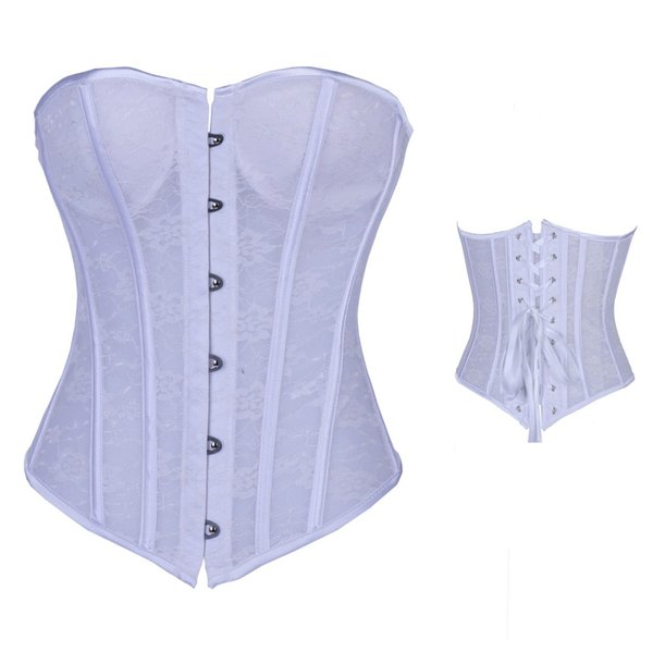 Sexy White Lace Corset Overbust Waist Trainer Steampunk Corsets Bustier Top Bodysuit corset victoriano Wedding Lingerie Corselet