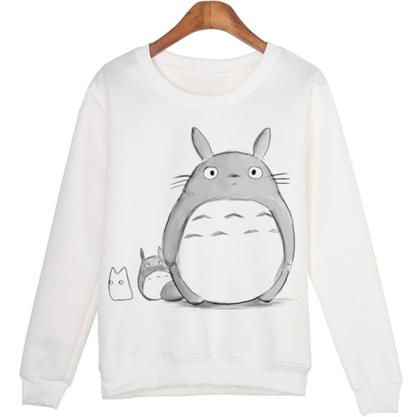 Mode-Casual 3d Sweatshirt Frauen Winter Kleidung Cartoon Totoro Print Moleton Feminino Hoodies O-Neck Pullover Tops Wmh31