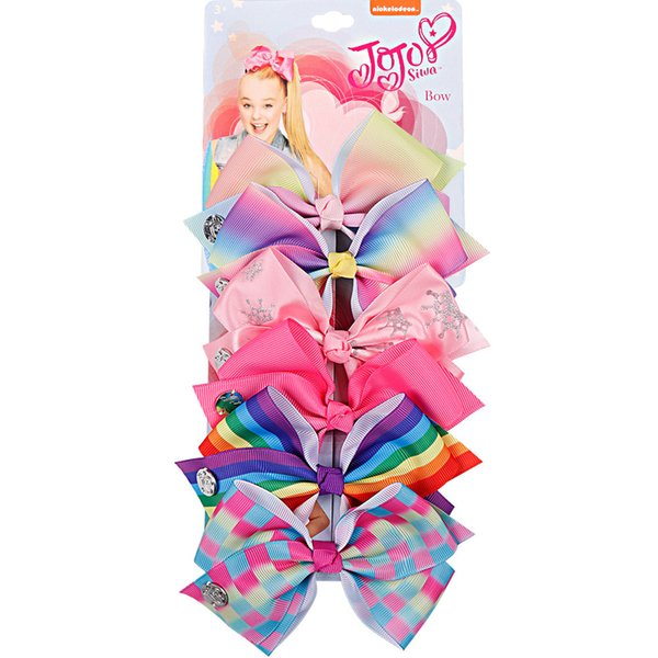 JOJO SIWA 5.6inch LARGE Rainbow Unicorn Signature HAIR BOW with card and sequin logo baby girl Children Hair Accessories fashion hair clip