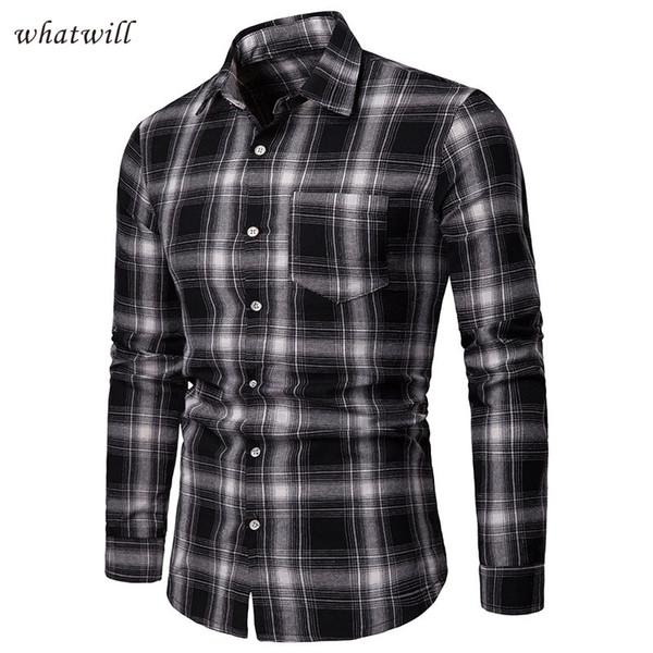 Camisas casuais mens camisa moda chemise homme xadrez camisa de vestido de negócios hip hop camisas hombre longo camiseta masculina 2019