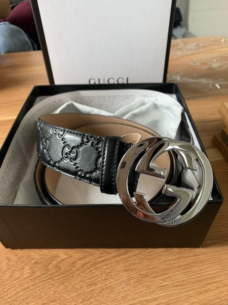 2019 new de ign fa hion leather belt men and women luxury bu ine belt with the box, Black;brown