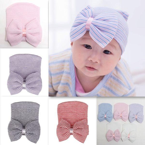2018 nouveau bébé tricoté bonnet chaud avec noeud papillon mignon doux petit bébé casquettes pour 0-3 mois coiffures 8 couleurs
