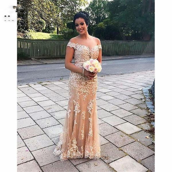 Elegant Off Shoulder New Prom Dresses with Lace Appliques Evening Dresses V-Neck Tulle Prom Dress for women Custom Made