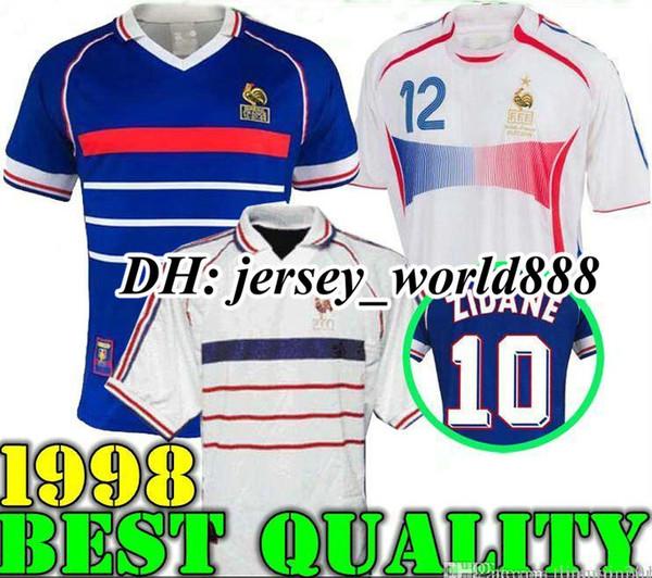 1998 FRANÇA RETRO VINTAGE ZIDANE HENRY MAILLOT DE FOOT camisas de futebol uniformes Camisas De Futebol camisa branco longe finais 2006 branco