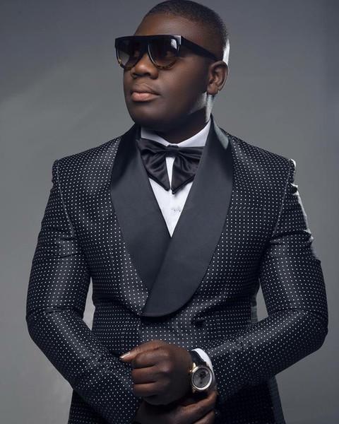 New Fashion Black Dot Groom Tuxedos Groomsmen Shawl Lapel Best Man Blazer Mens Wedding Suits (Jacket+Pants+Bow)