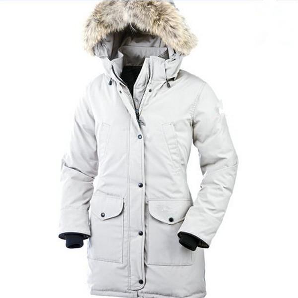 Parka pour femmes en duvet 2019 de marque Canada nouvelle veste épaisse en duvet d'oie de couleur unie chaude et coupe-vent imperméable longue