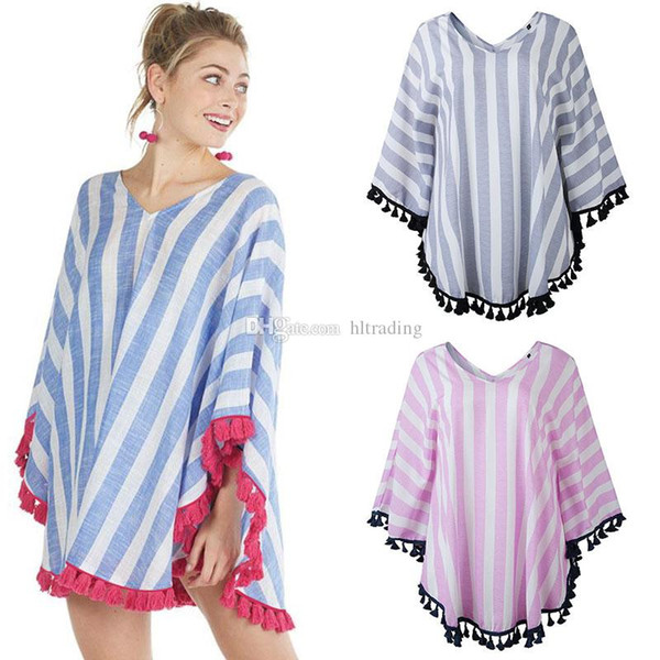 2019 Summer Women V-Neck cloak Tops fashion Striped tassel shawl Casual Tees Maternity Women Clothes 3 colors T-shirts C6718