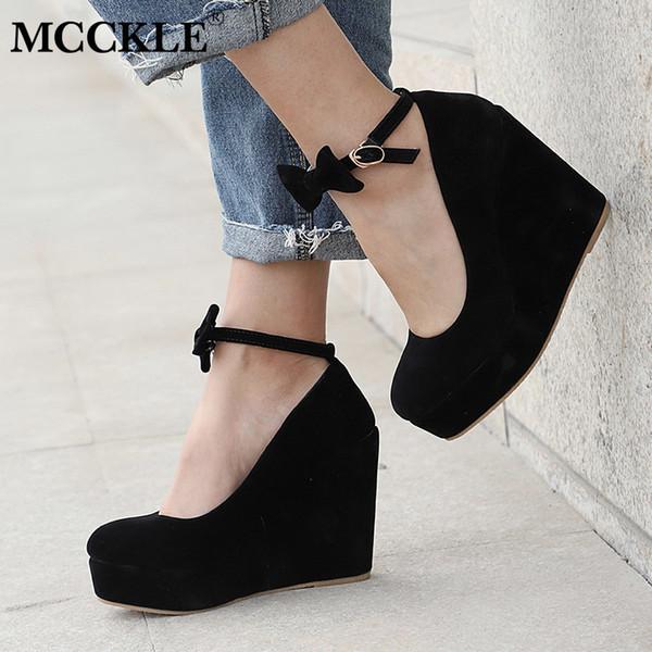 MCCKLE Women High Heels Plus Size Platform Wedges Female Pumps Elegant Flock Buckle Bowtie Ankle Strap Party Wedding Shoe