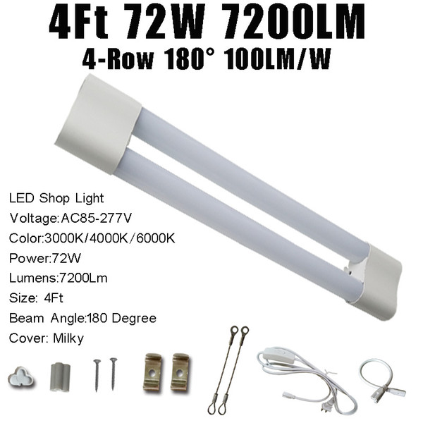 4FT 72W 7200LM Milky Cover