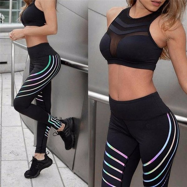 2019 Women Yoga Fitness Yoga Pants Sports Leggings Night Running Laser Stripe Gym High Waist Tights Quick Dry Workout Clothes #781902