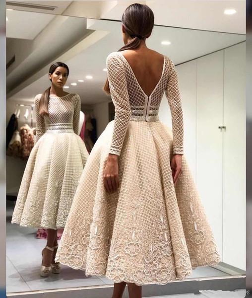 2019 nova linha de mangas compridas champagne apliques de chá comprimento de luxo bonito novo chegando vestido de noite vestido de noite