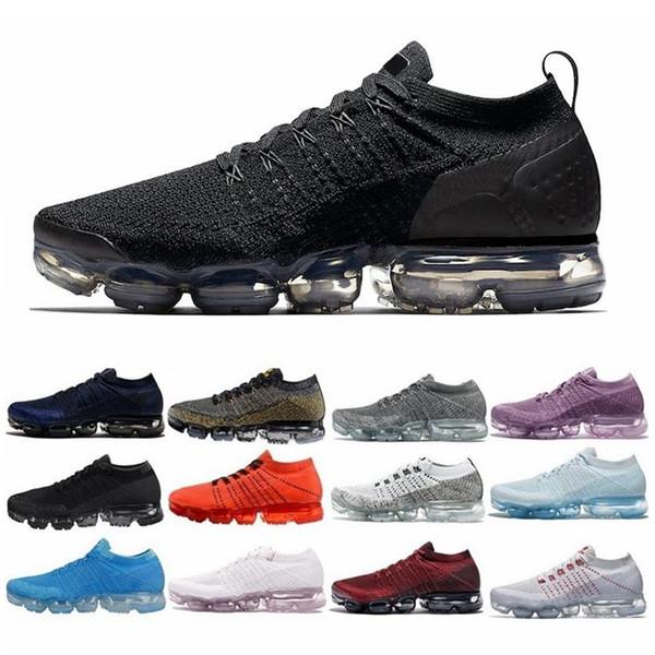 Nike Air Max VaporMax max Off white Flyknit Utility Erkekler ve kadınlar için Yüksek kalite beyaz gümüş siyah ayakkabı çalışan erkekler spor etkisi Corss yürüyüş koşu açık yürüyüş ayakkab ...