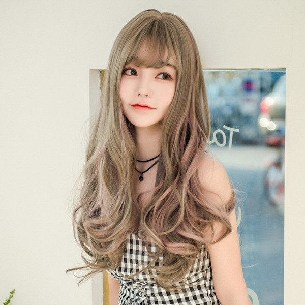 The wigWig female long curly hair highlighting realistic wig set Europe and America hot spot wholesale custom made a generation