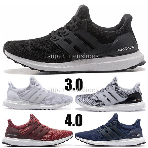 with socks 2019 Ultra Running Shoes 3.0 4.0 Men Women Sneakers TRIPLE BLACK RED STRIPES Ultraboost breathable Sport Shoes Trainers 3