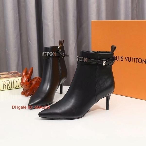 Motif Automne Hiver Mode de haute qualité en cuir véritable femme Bottes longues Noir Talon Chaussures pour femmes orteils pointés