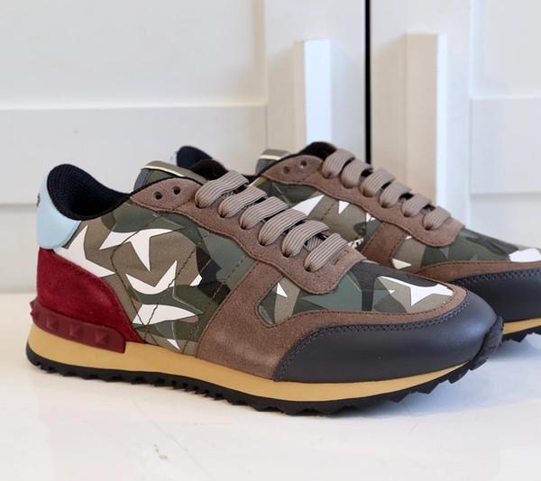 2019 ücretsiz kargo Casual Ayakkabı Womens Lüks Tasarımcılar Çeşitli Stilleri Mens Konfor Rahat Ayakkabı Perçinler Kamuflaj Ayakkabı Rahat Tarzı