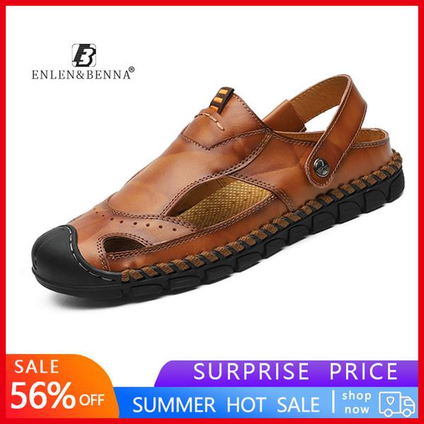 Vendita calda sandali estivi pelle sandali della spiaggia degli uomini all'aperto vibrazione comode Mens di gomma respirabile Flops Scarpe 2019 Grandi Taglie