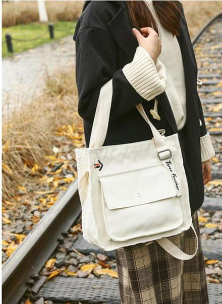 Kadın Kanvas Çanta Küçük taze Stil Harajuku Tarzı Kontrast Renk Küçük Çanta Kore Moda Rahat Omuz Çantaları eğilim