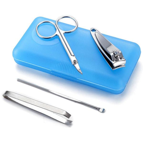 Wholesale- Plastic box 4 piece suit beauty nail scissors nail clipper Nail pedicure knife set Manicure Kit
