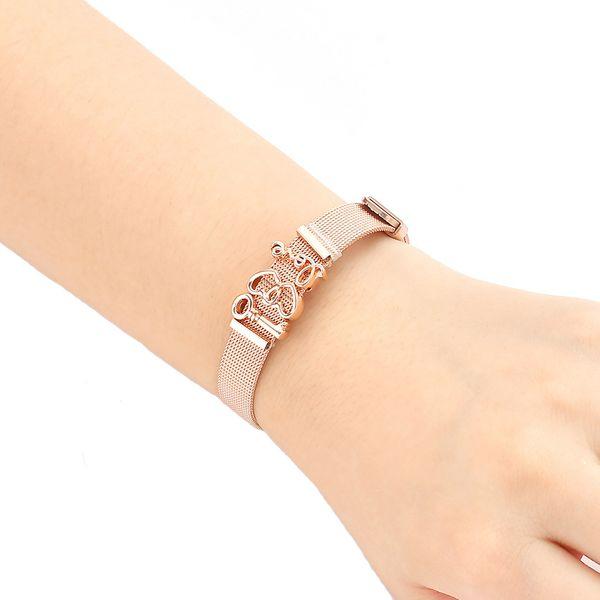 Stylish Mesh Belt Bracelet with Rubber Preventer Key Heart Love Charm Wrist Band Cuff Bangle Women Jewelry