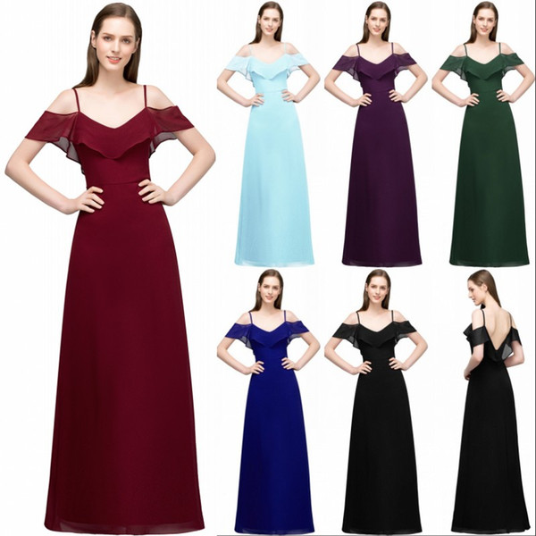 New Bridesmaid Dresses 2018 Burgundy Chiffon A-Line Off Shoulder Backless Wedding Guest Dresses Long Party Gown Prom Dresses Summer CPS804