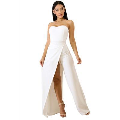 Combinaisons New Maxi Sexy taille haute fendues pour femmes européennes et américaines, avec bustier enveloppé sans bretelles et pantalon large