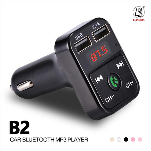2019 НОВЫЙ АВТОМОБИЛЬ B2 Bluetooth Car Kit MP3-плеер с громкой связью Беспроводной FM-передатчик Адаптер USB Автомобильное зарядное устройство B2 Поддержка Micro SD Card