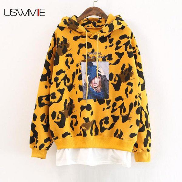 2018 Winter Hoodies Women Fashion Joker Beautiful Letters Stitching Long Sleeve Contrast Color Fake Two Pieces Pullovers USWMIE