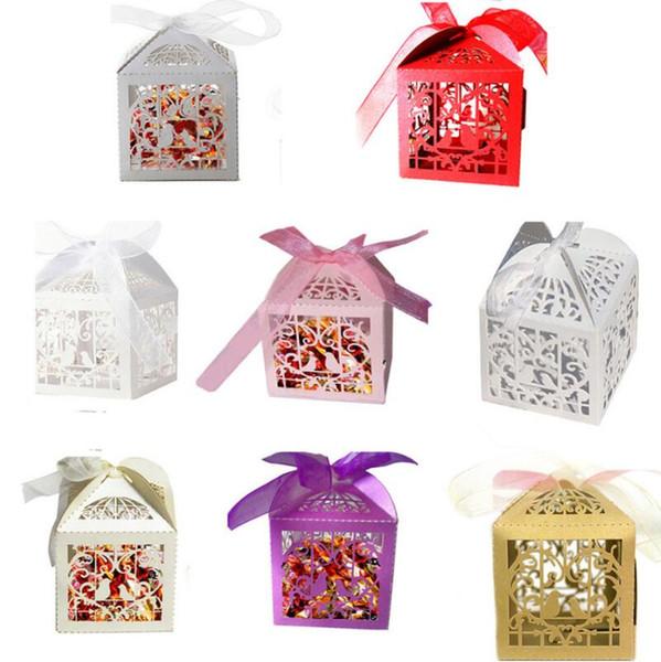 Liebesherz weißer Vogelkäfig kleines Laser-Geschenk Süßigkeitskästen Hochzeitsfestbevorzugung mit Band sackt Dekor-Rosa LX7301 ein