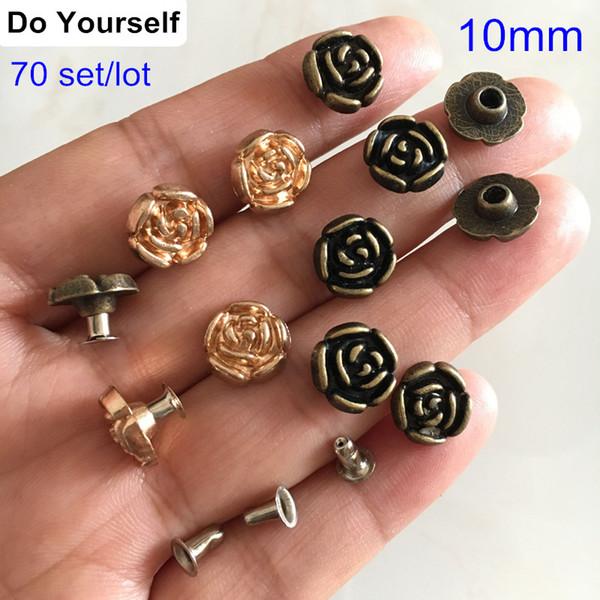 70 Set Rose Flower Spike Rivet Studs,10mm Rose Rivet For Leather Crafts,Punk Rock Rapid Rivet Decorative Rivet,Bronze /Rose Gold