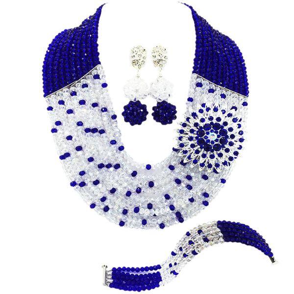 Fashion Royal Blue Clear AB Transparen Nigerian Wedding African Beads Jewelry Set Crystal Necklace Bracelet Earrings Sets 10SZ23